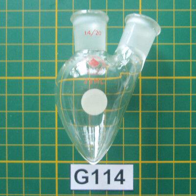 Micro Organic Lab Lot G114 25ml 2-neck Pear Flask Ace 910
