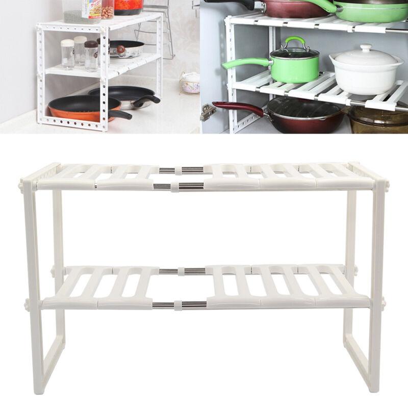 Kitchen Rack White Adjule Under Sink Storage Tidy Shelf Unit Removeable