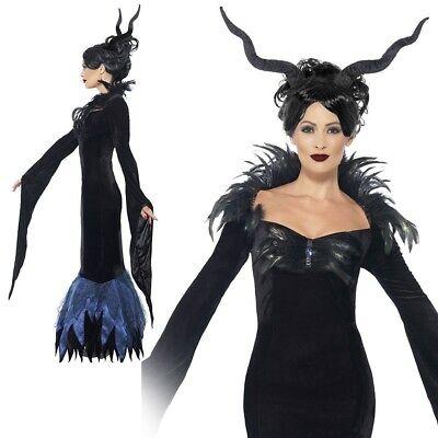 Womens Lady Rabe Maleficent Böse Königin Erwachsene Halloween Kostüm UK - Bösen Raben Kostüm