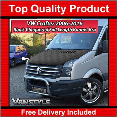 VW VOLKSWAGEN CRAFTER 2006-16 BLACK CHEQUERED CHECKERBOARD BONNET BRA PROTECTOR
