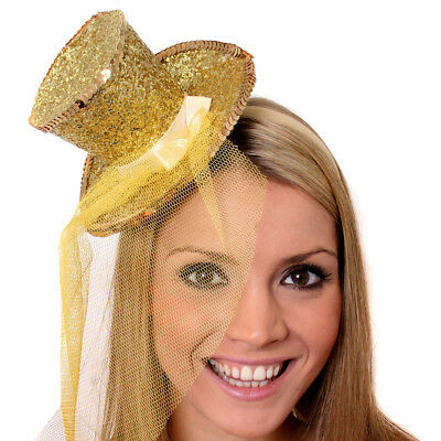 GOLD MINI TOP HAT WITH NET GLITTER FASCINATOR FANCY DRESS ACCESSORY CHRISTMAS (Gold Glitter Top Hat)