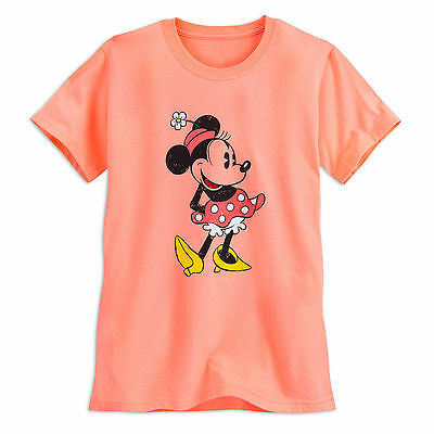 Disney Store Classic Minnie Mouse Orange Womens T Shirt Tee Size XS S M XL NWT
