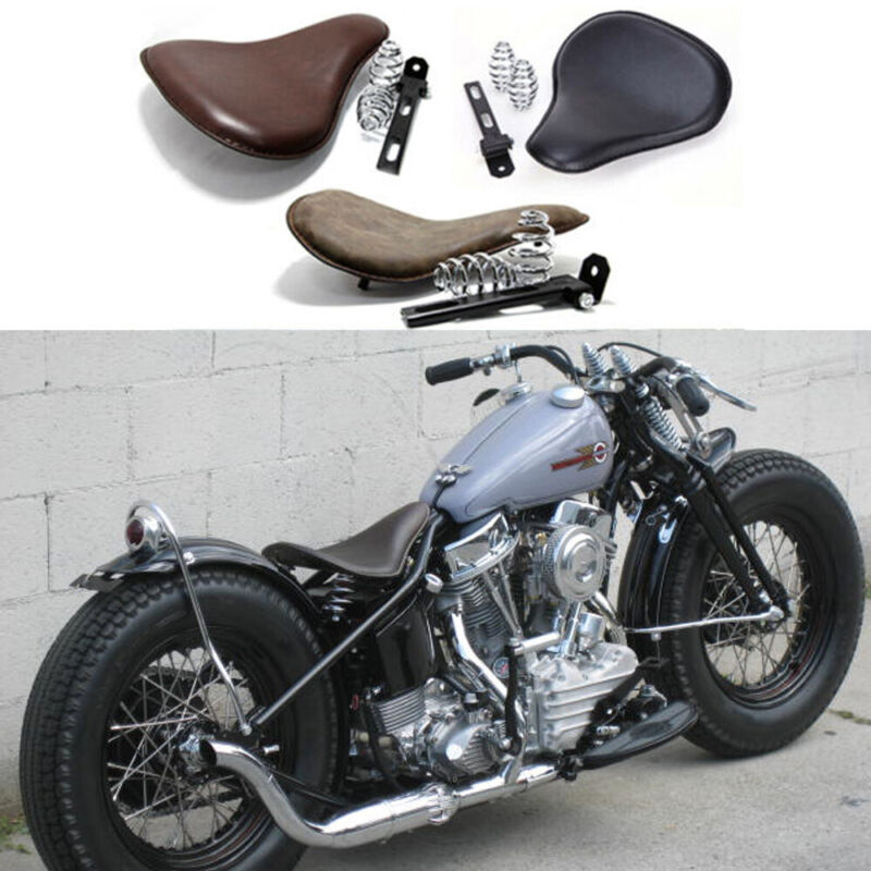 Amazicha 3 Black Solo Seat Bracket Base Chrome Barrel Springs Mounting Kit Compatible for Harley Honda Yamaha Kawasaki Suzuki Sportster Bobber Chopper