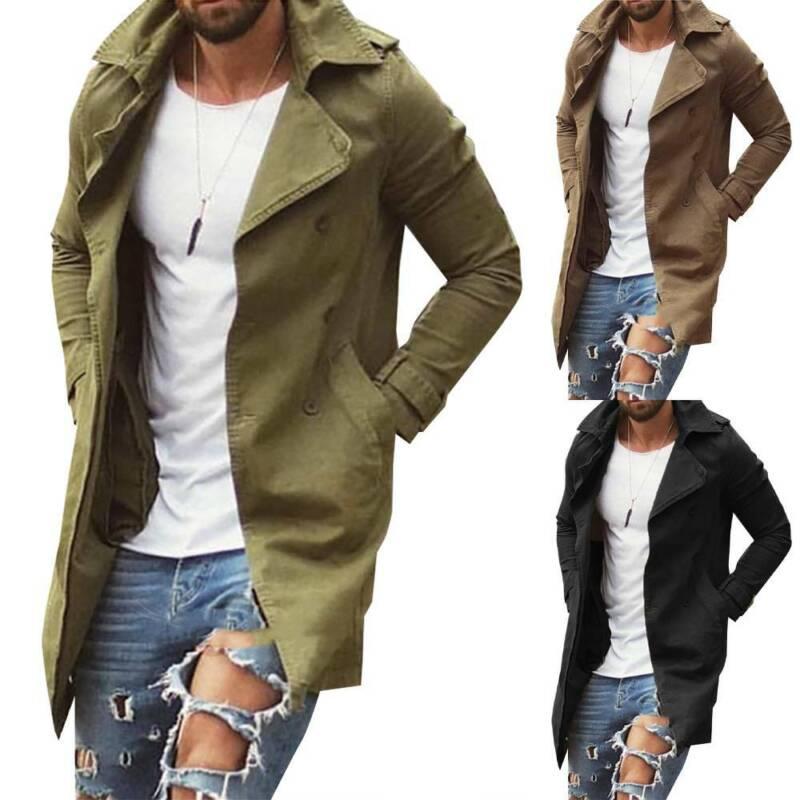 Men Lapel Trench Coat Outwear Overcoat Long Sleeve Winter Co