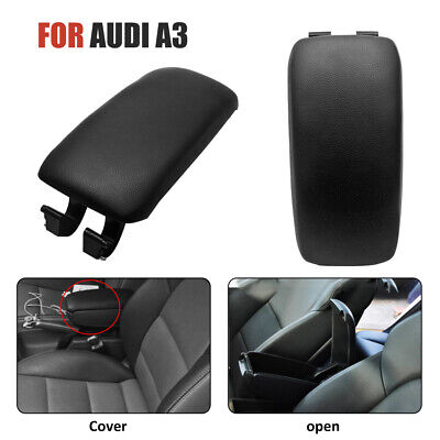 For Audi A3//S3//8P 2004-13 Leather Center Console Armrest Lid Cover Black Leather