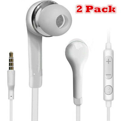 2pcs Handsfree Wired Headphones Earphones Earbud with Mic-White For Samsung for sale  Shipping to India