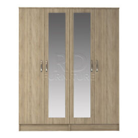 classy 4 door double mirrored wardrobe oak