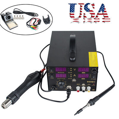 4in1 909d Heat Air Gun Rework Station Soldering Iron Dc Power Supply 800w Usa