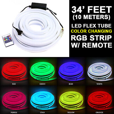 LED Neon Curve Light Rope 34-Feet Party Home Decoration Outdoor Multi-Color 10M