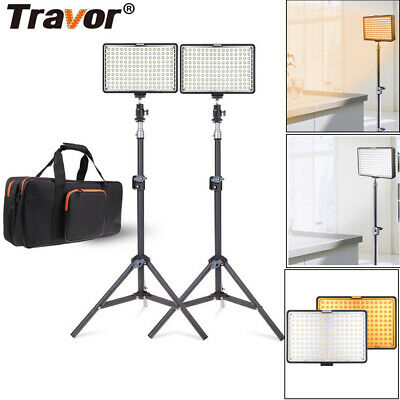 Travor 2Pcs Dimmable LED Light With Stand For Studio Photography Camera Lighting