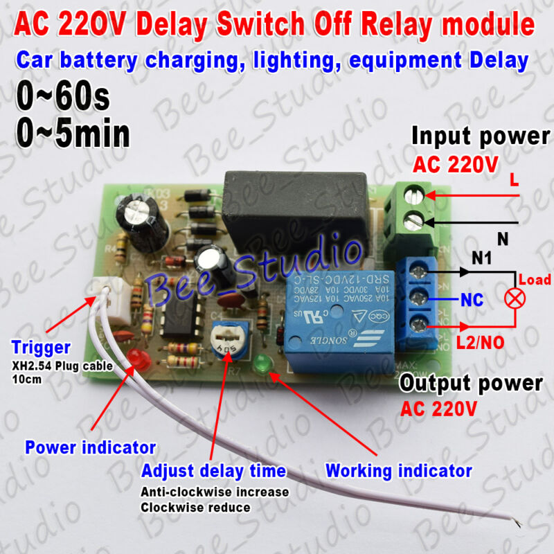 AC220V 230V 240V Trigger Delay Switch Turn Off Board Timing Timer Relay Module   eBay