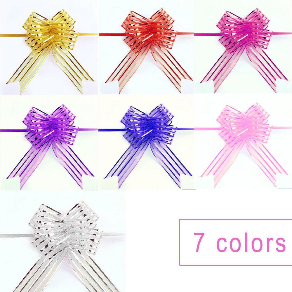 10pcs Pull Bows Organza Ribbons Wedding Party Flower Decor Gift Present Wraps