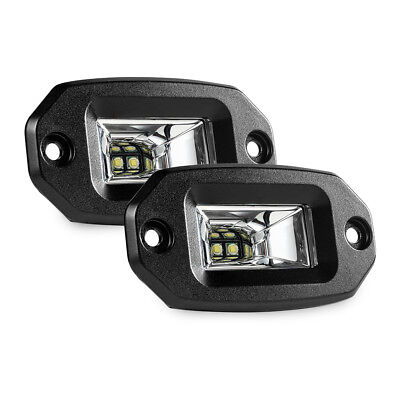 Microphone Flush Mount - 2x 20W Flush Mount LED Pods Flood CREE Work Light Offroad Backup Lamp for all