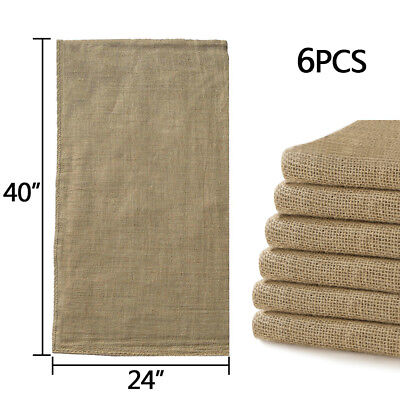 6pcs Linen Burlap Jute Bag Heavy Duty Potato Game Sack Gunny Race Bags 24