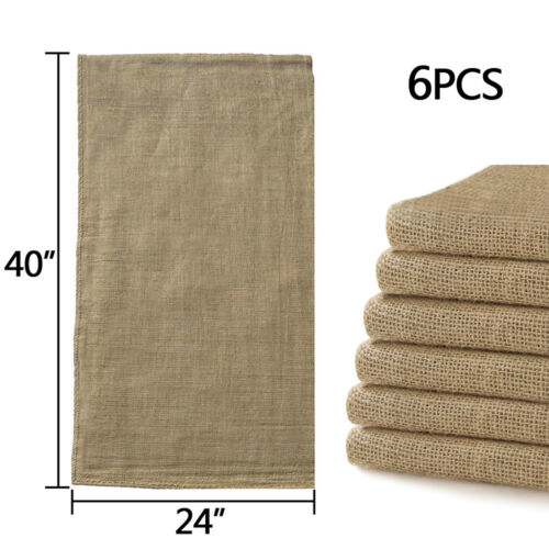 Купить Unbranded - 6pcs Linen Burlap Jute Bag Heavy Duty Potato Game Sack Gunny Race Bags 24x40