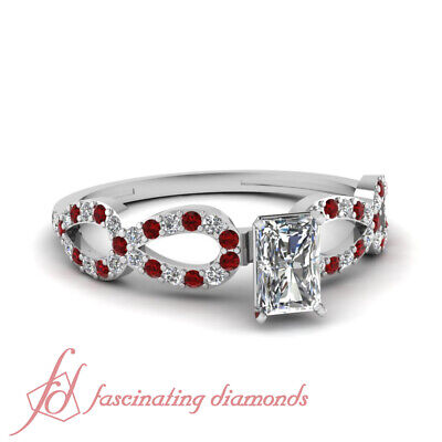 1 Carat Radiant Cut SI1-D Color Diamond & Red Ruby Pave Engagement Ring 14K GIA