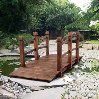 Small Wooden Garden Bridge Rustic Outdoor Arch Walkway Beam Courtyards Landscape
