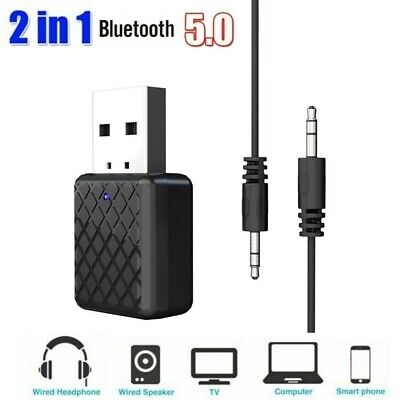Bluetooth 5.0 Transmitter & Receiver 2-in-1 Wireless Audio Aux 3.5mm Adapter