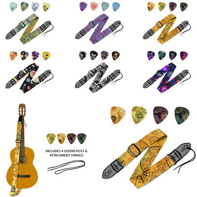 Guitar Strap Nylon Pick Holder with 4 Guitar Picks for Electric Acoustic Guitar