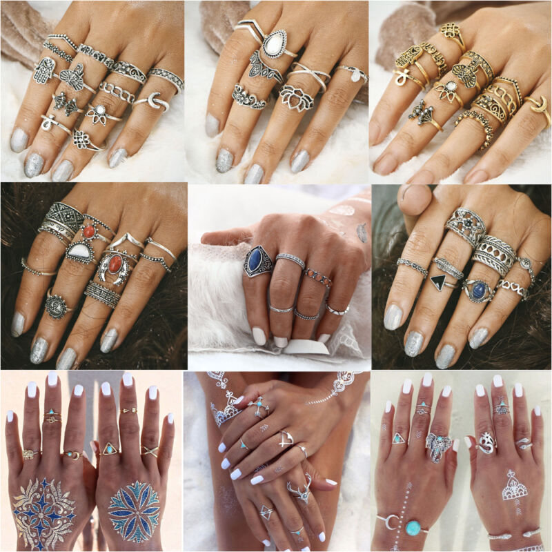 Ring - 6pcs Boho Vintage Turquoise Elephant Animal Ring Set Midi Finger Knuckle Rings