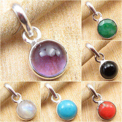 Delicate Stone - 925 Silver Plated Natural AMETHYST & Other Stone Choice DELICATE Round Pendant