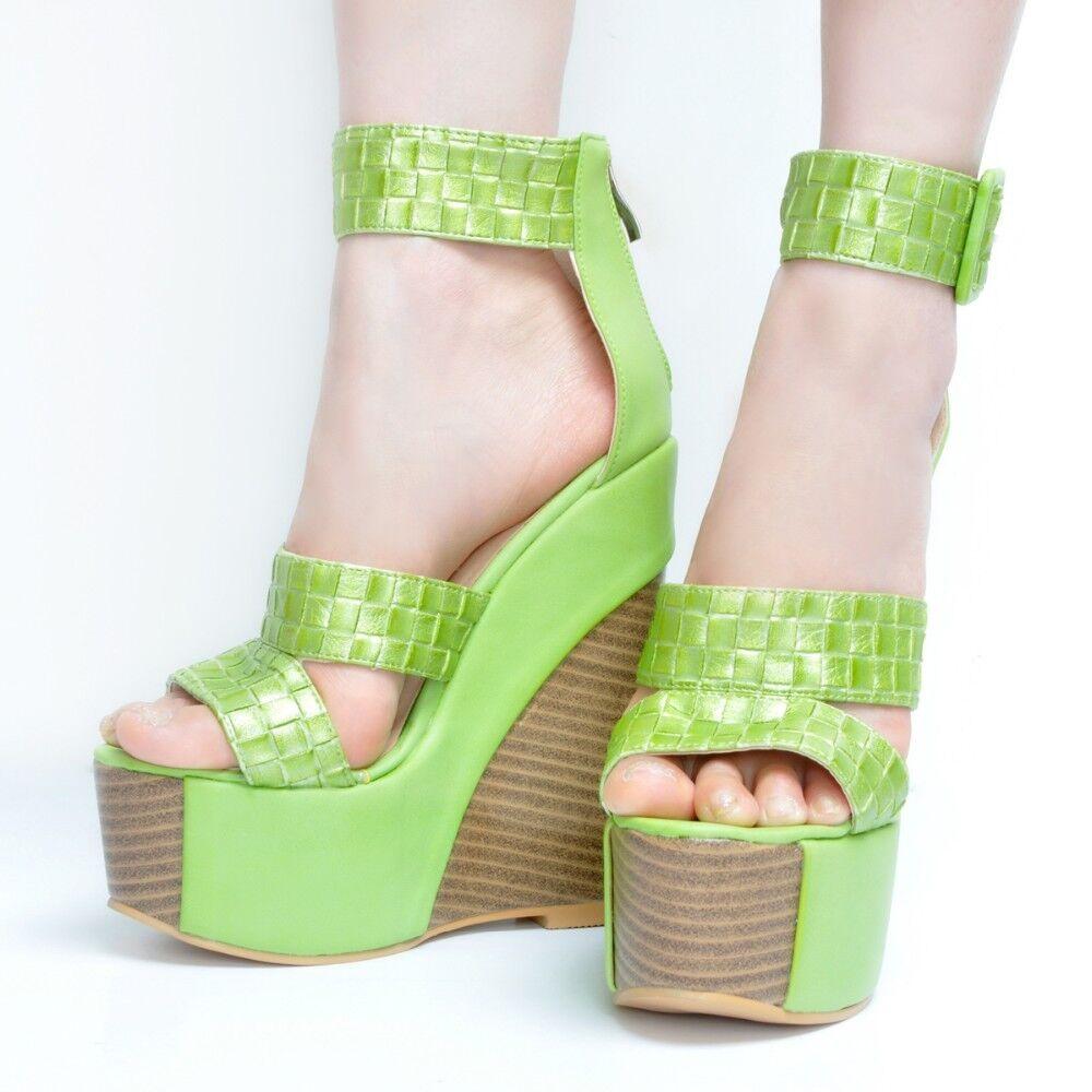 NICE Women Sandals Platform Wedges Sandals Brown Green Shoes