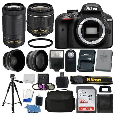 Nikon D3400 Digital SLR Camera 32GB 4 Lens Kit: 18-55mm VR + 70-300mm Best