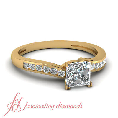 3/4 Carat Princess Cut And Round Diamond Engagement Ring Simple Channel Set GIA