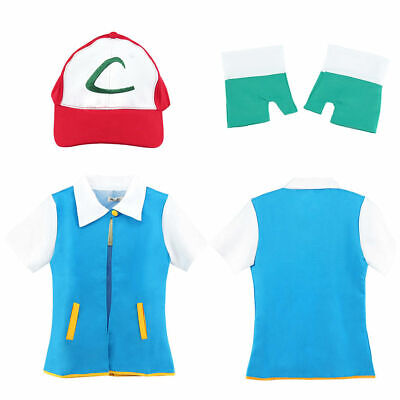 Anime Pokemon Ash Ketchum Trainer Coat Costume Jacket Cosplay - Pokemon Ash Costumes