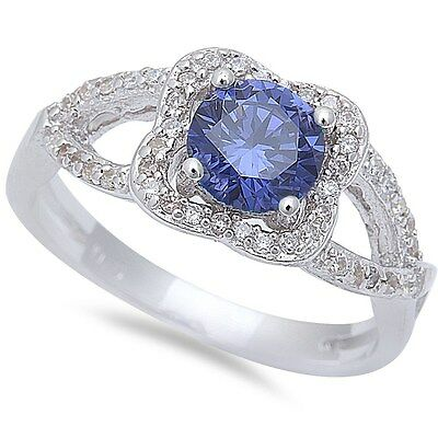 Halo Style Tanzanite & Cz  .925 Sterling Silver Ring Sizes 6