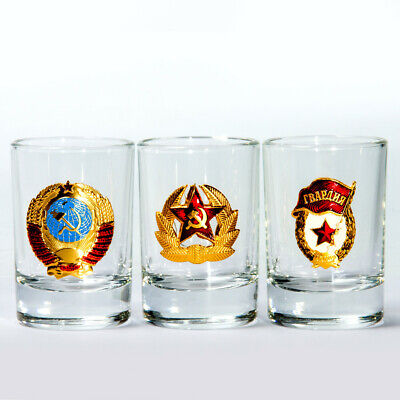 Tequila Shot Glasses (Set of 3 USSR Shot Glasses Made in Russia Vodka Tequila Shots 1.7 fl oz)