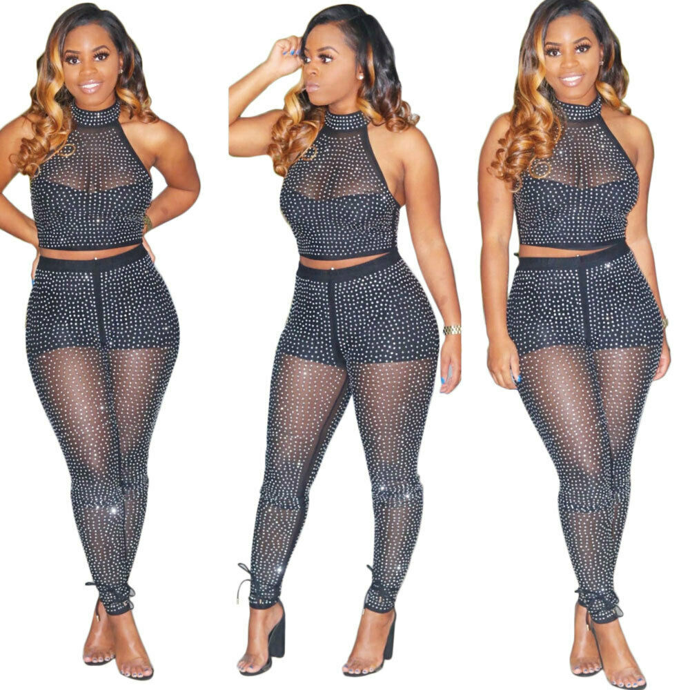 Details about Sexy Women 7 Piece Outfits Mesh Polka Dot Crop Top Pants Set  Casual Jumpsuit ZG7