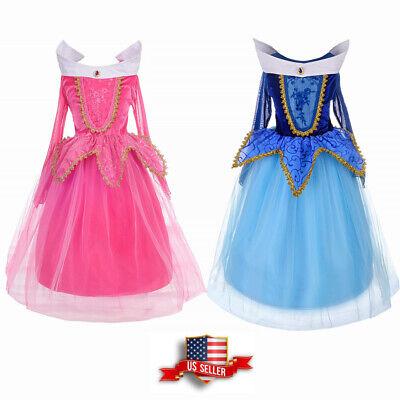 Kids Girls Sleeping Beauty Aurora Princess Dress Ball Gown Fancy Cosplay Costume