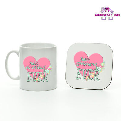 Gifts for Her, Best Girlfriend Ever Mug and Coaster Set, Valentine's Day