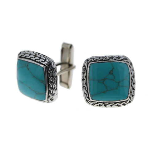 925 Sterling Silver, Mens Turquoise Cuff Links, 20mm Cufflinks, Turquoise & Silv