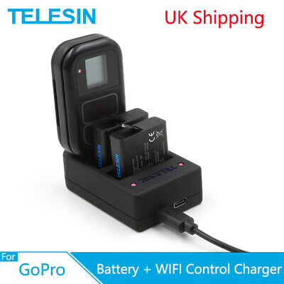 TELESIN 3 Slots Battery WiFi Remote Control Charger For Gopro Hero 5 6 7 8 Black