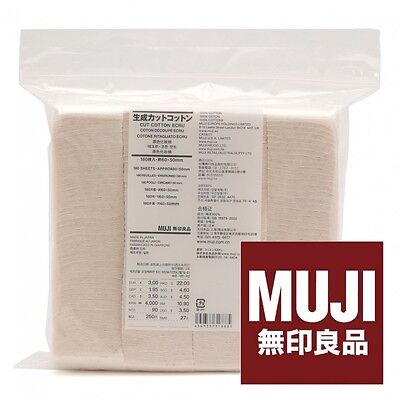 MUJI MoMA Cotton pads 100% ORGANIC & UNBLEACHED 60x50mm 180 sheets Made in JAPAN