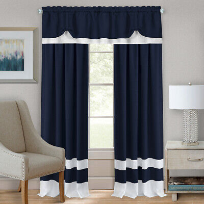 Navy Blue/White Modern Two-Tone Window Curtains Panel Tiers
