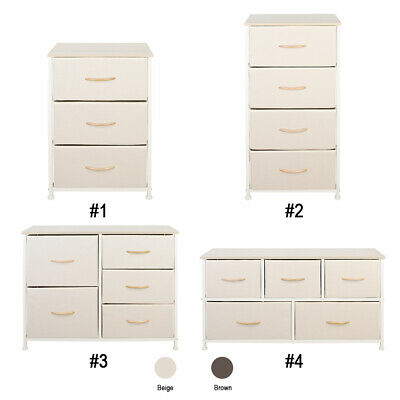 Fabric Dresser Chest 3/4/5 Drawers Furniture Bedroom Storage Organizer Wood Top Chest Wood Top