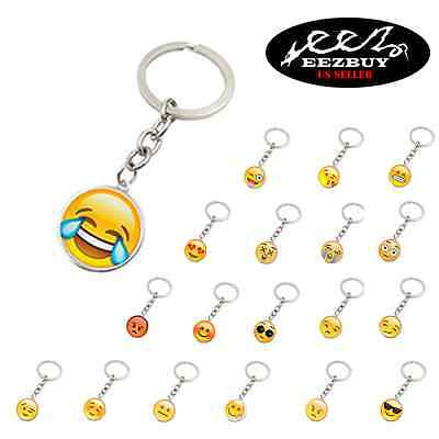 19 Different Choices EMOJI FACES Keychain EMOTICON FACE 3D Key Ring (Emoji Ring)