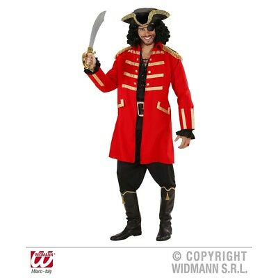 Small Adult's Red Pirate Costume - Fancy Dress Captain Mens Hook Coat Hat Sxl - Red Pirate Coat