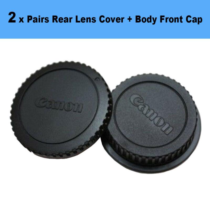 2 x Packs Rear Lens Cover + Camera Body Front Cap for Canon EOS EF DSLR SLR Lens