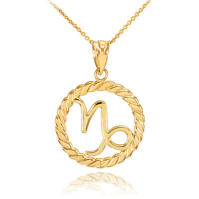 - Gold Capricorn Zodiac Sign in Circle Rope Pendant Necklace