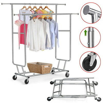 New Double Rail Clothing Garment Rolling Scalable Adjustable Laundry Rack Hanger