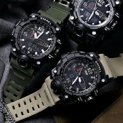 Mens Outdoor Sports Military Waterproof Dual Time LED Light Digital Analog (Sports Lighting)