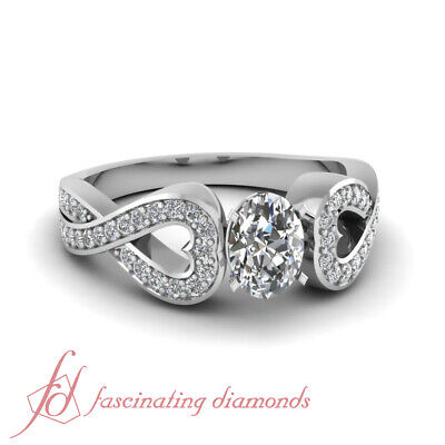 1 Carat Oval Shape Entwine Heart Platinum Diamond Engagement Rings For Women GIA