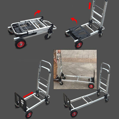 2 In1 Aluminum Hand Truck Convertible Folding Dolly Platform Cart 200kg Capacity