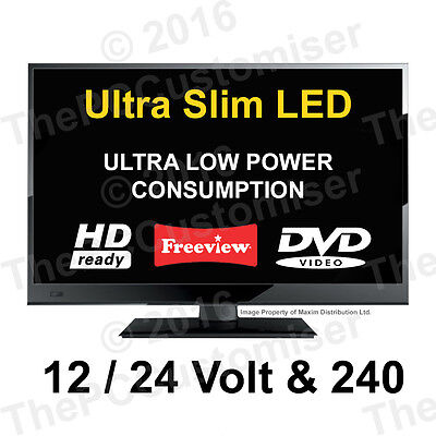 "15.6"" 12 Volt HD Digital Ultra slim LED TV DVD Caravan, Boat, Marine, HGV 24 12V"