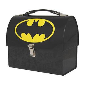 BATMAN LOGO DOMED TIN TOTE LUNCH BOX RETRO CADDY DARK KNIGHT JUSTICE LEAGUE GIFT