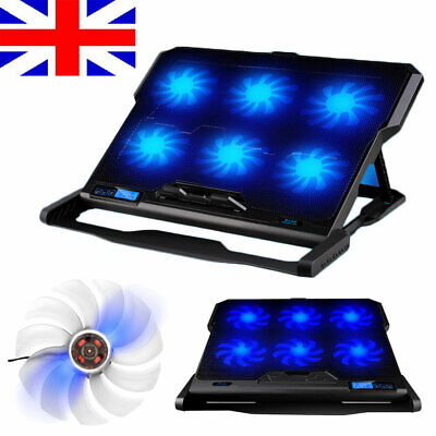 """6 Fans Laptop Cooler Stand for 14"""" 15.4"""" 15.6"""" Quiet Cooling Pad + LED Backlight"""